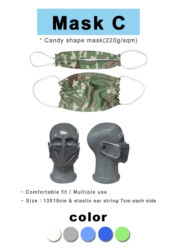 Customized Mask C printed 4 C, candy shape  - Dailytec