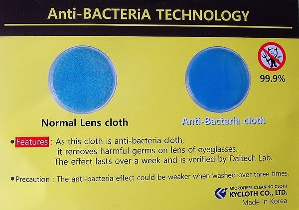 Antibacterial lens cloths - Dailytec